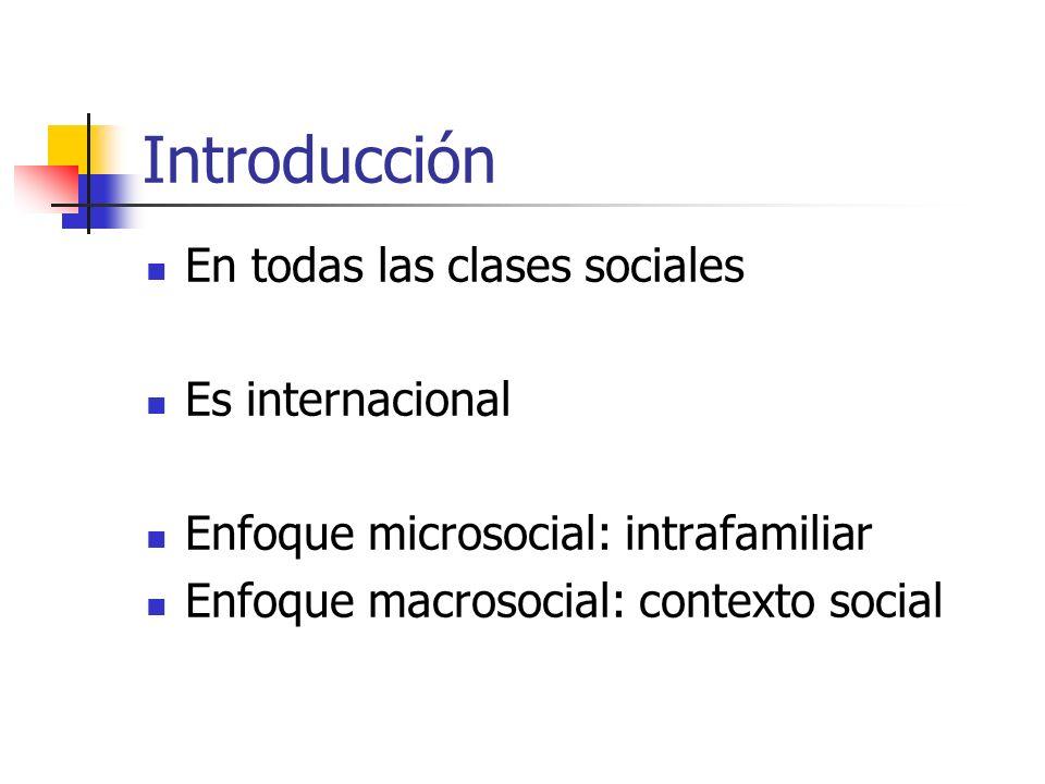 Introducción En todas las clases sociales Es internacional Enfoque microsocial: intrafamiliar Enfoque macrosocial: contexto social