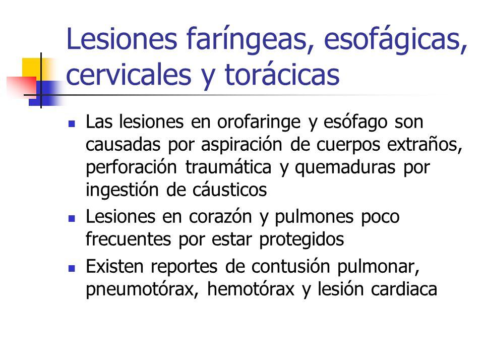 Lesiones faríngeas, esofágicas, cervicales y torácicas Las lesiones en orofaringe y esófago son causadas por aspiración de cuerpos extraños, perforaci