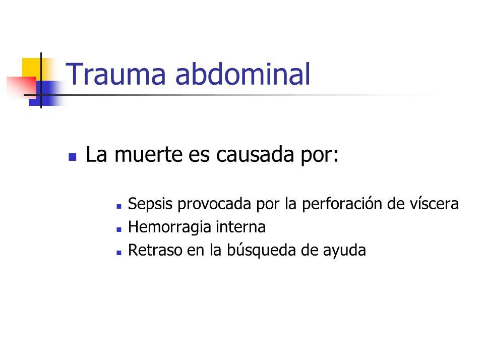 Trauma abdominal La muerte es causada por: Sepsis provocada por la perforación de víscera Hemorragia interna Retraso en la búsqueda de ayuda