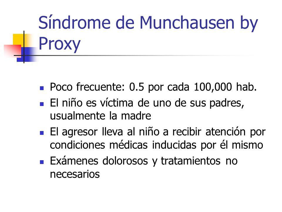 Síndrome de Munchausen by Proxy Poco frecuente: 0.5 por cada 100,000 hab. El niño es víctima de uno de sus padres, usualmente la madre El agresor llev