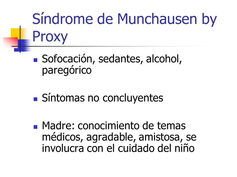 Síndrome de Munchausen by Proxy Sofocación, sedantes, alcohol, paregórico Síntomas no concluyentes Madre: conocimiento de temas médicos, agradable, am