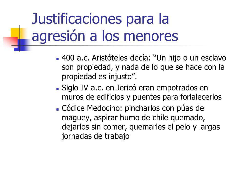 Justificaciones para la agresión a los menores 400 a.c. Aristóteles decía: Un hijo o un esclavo son propiedad, y nada de lo que se hace con la propied