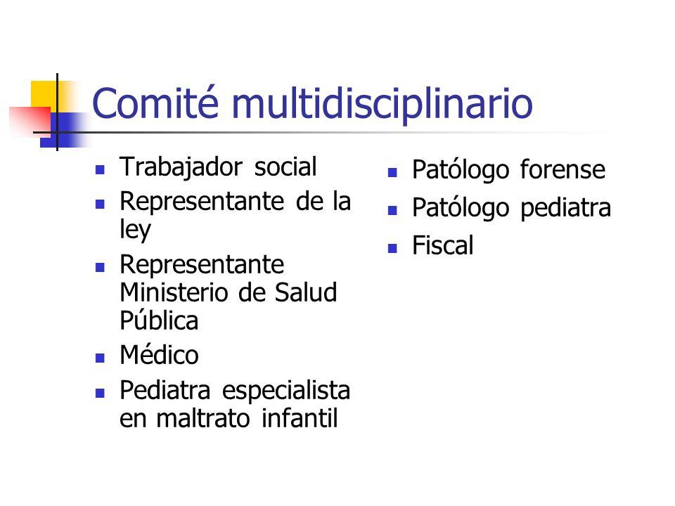 Comité multidisciplinario Trabajador social Representante de la ley Representante Ministerio de Salud Pública Médico Pediatra especialista en maltrato