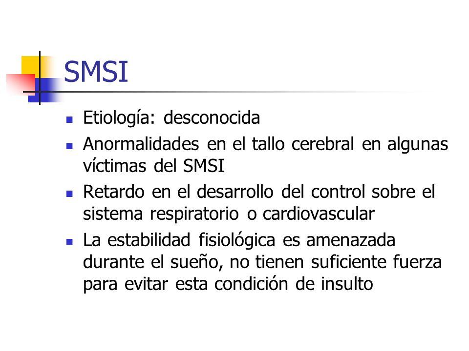 SMSI Etiología: desconocida Anormalidades en el tallo cerebral en algunas víctimas del SMSI Retardo en el desarrollo del control sobre el sistema resp