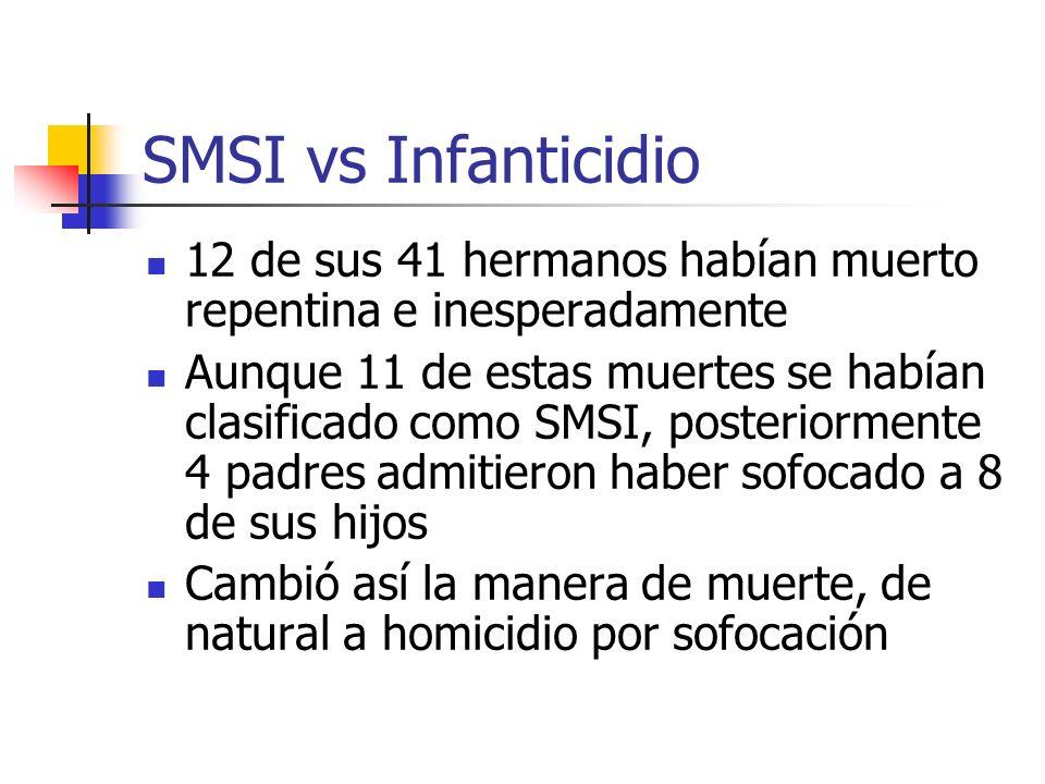 SMSI vs Infanticidio 12 de sus 41 hermanos habían muerto repentina e inesperadamente Aunque 11 de estas muertes se habían clasificado como SMSI, poste
