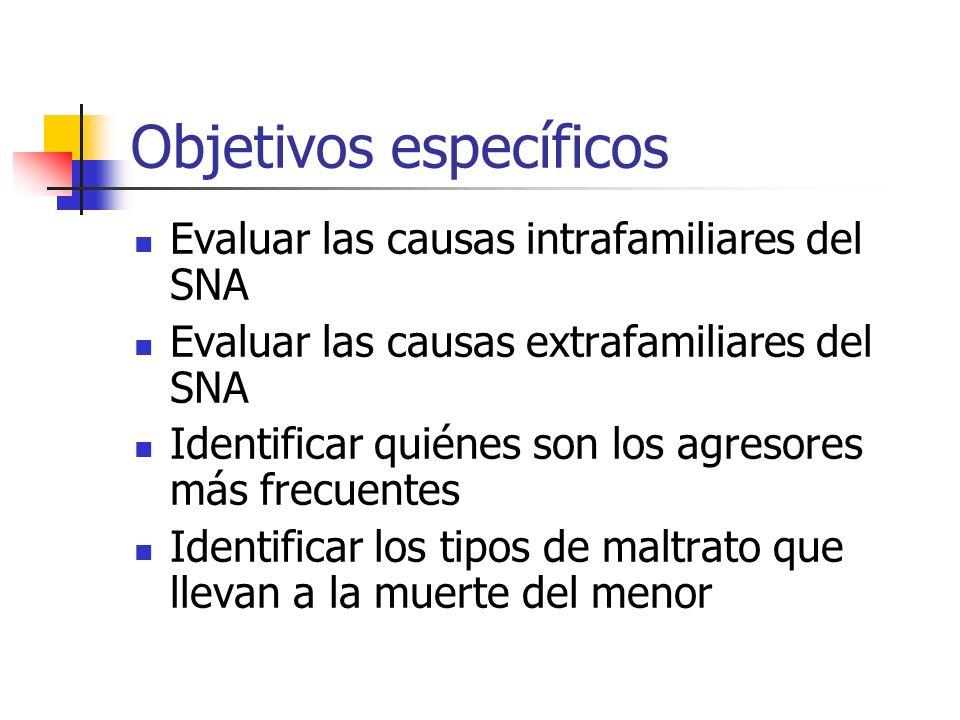 Objetivos específicos Evaluar las causas intrafamiliares del SNA Evaluar las causas extrafamiliares del SNA Identificar quiénes son los agresores más