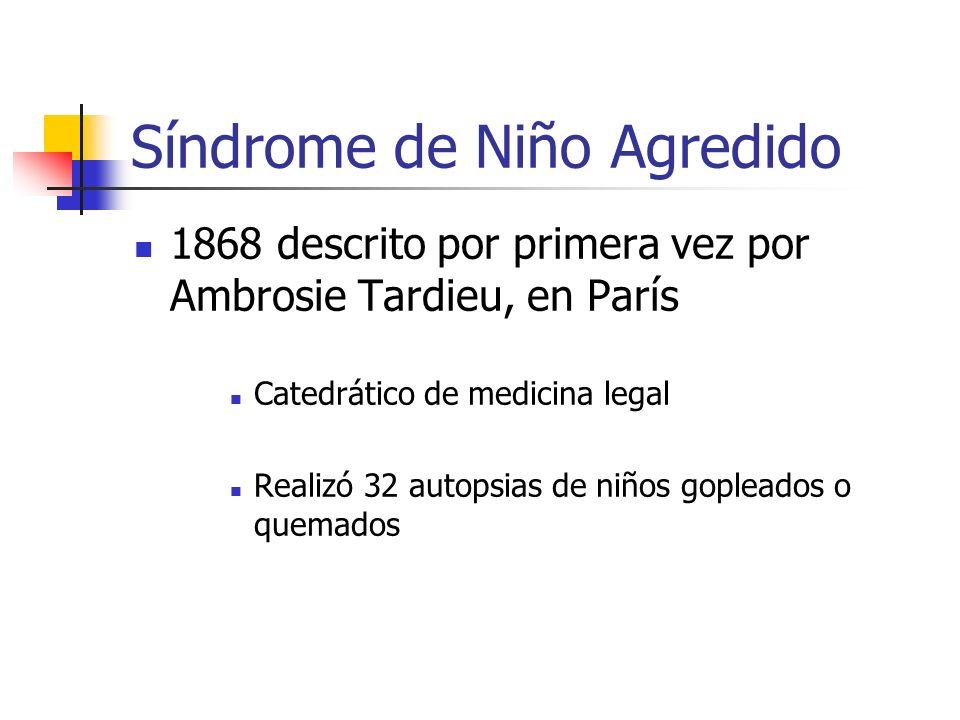Síndrome de Niño Agredido 1868 descrito por primera vez por Ambrosie Tardieu, en París Catedrático de medicina legal Realizó 32 autopsias de niños gop
