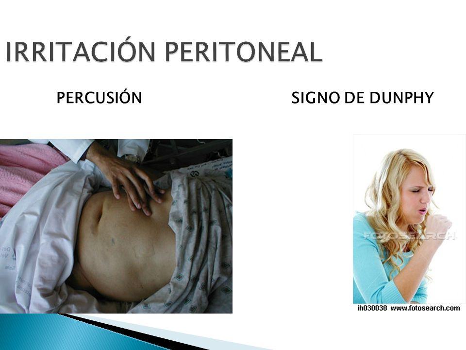 IRRITACIÓN PERITONEAL PERCUSIÓNSIGNO DE DUNPHY
