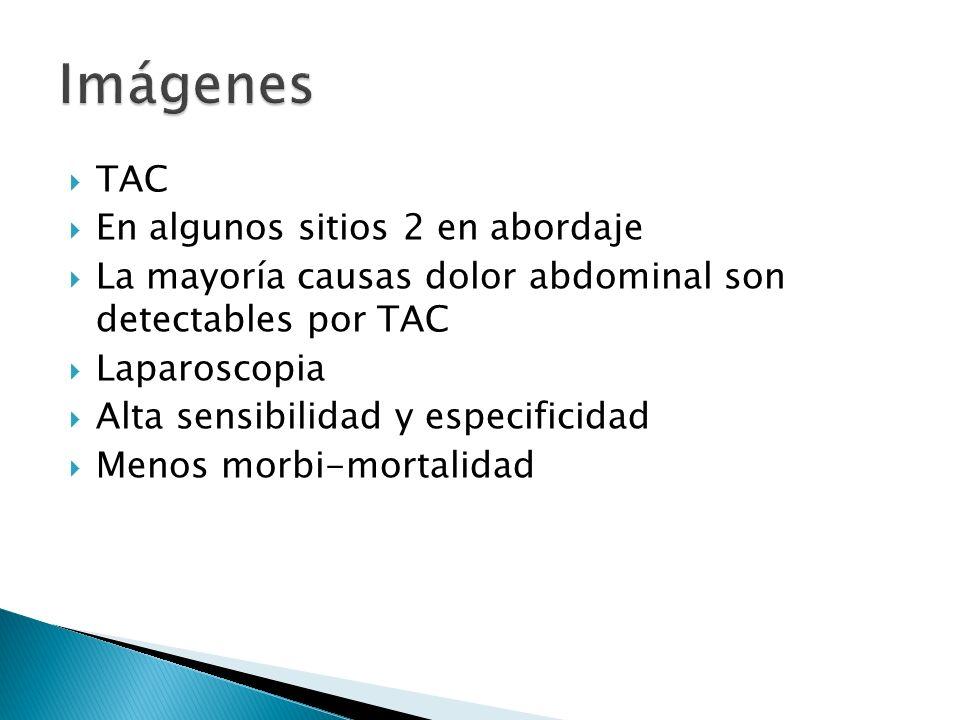 TAC En algunos sitios 2 en abordaje La mayoría causas dolor abdominal son detectables por TAC Laparoscopia Alta sensibilidad y especificidad Menos mor