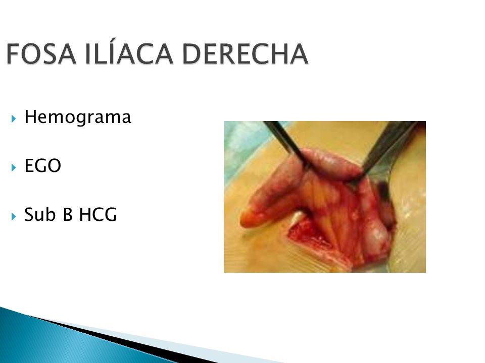 FOSA ILÍACA DERECHA Hemograma EGO Sub B HCG