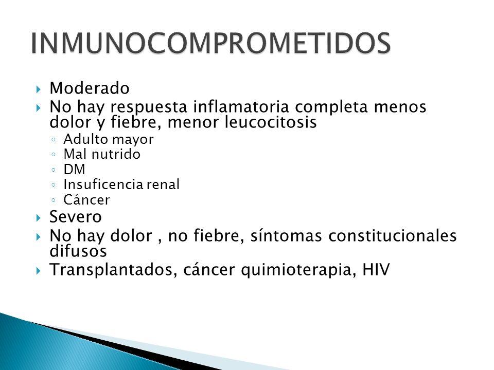 Moderado No hay respuesta inflamatoria completa menos dolor y fiebre, menor leucocitosis Adulto mayor Mal nutrido DM Insuficencia renal Cáncer Severo