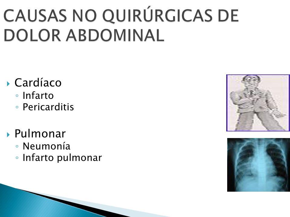 CAUSAS NO QUIRÚRGICAS DE DOLOR ABDOMINAL Cardíaco Infarto Pericarditis Pulmonar Neumonía Infarto pulmonar