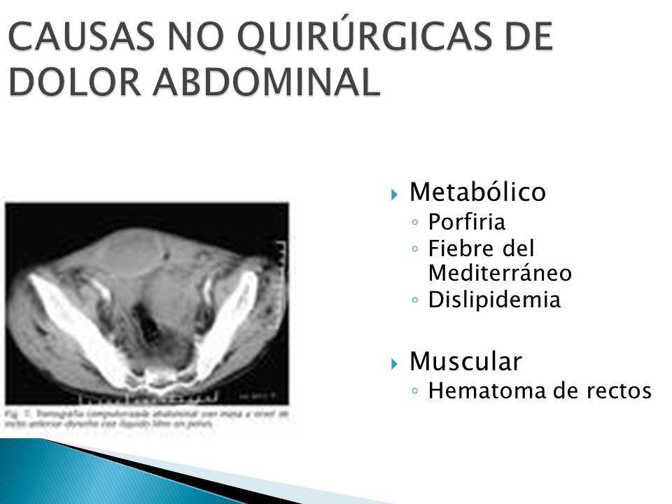CAUSAS NO QUIRÚRGICAS DE DOLOR ABDOMINAL Metabólico Porfiria Fiebre del Mediterráneo Dislipidemia Muscular Hematoma de rectos