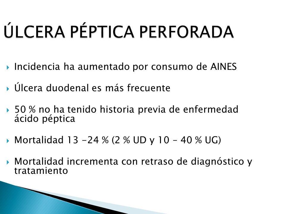 Incidencia ha aumentado por consumo de AINES Úlcera duodenal es más frecuente 50 % no ha tenido historia previa de enfermedad ácido péptica Mortalidad