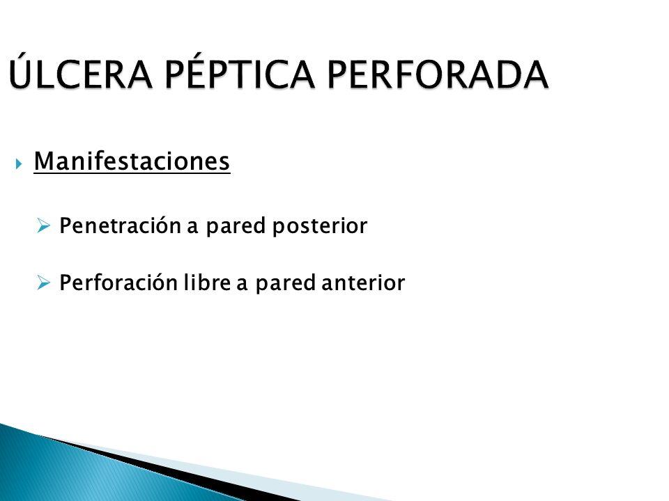 ÚLCERA PÉPTICA PERFORADA Manifestaciones Penetración a pared posterior Perforación libre a pared anterior