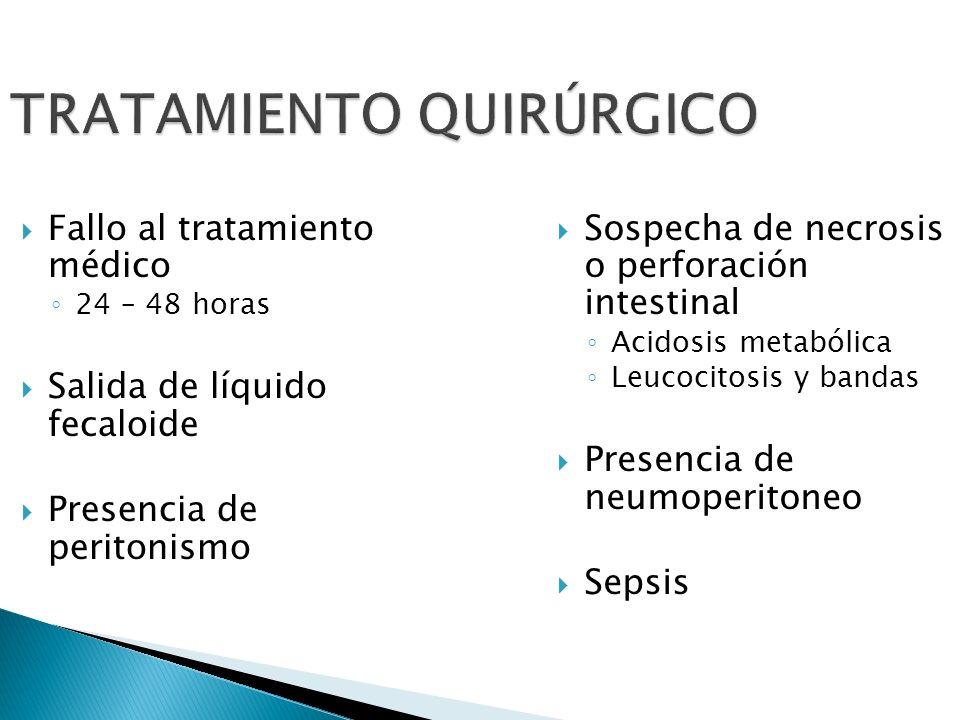 TRATAMIENTO QUIRÚRGICO Fallo al tratamiento médico 24 – 48 horas Salida de líquido fecaloide Presencia de peritonismo Sospecha de necrosis o perforaci