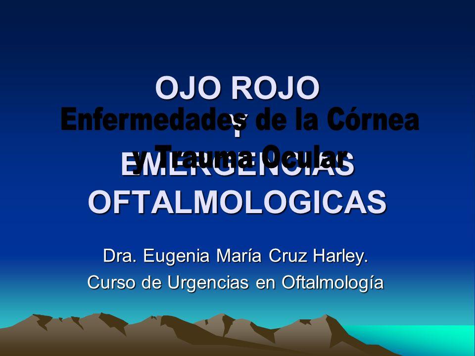 OJO ROJO Y EMERGENCIAS OFTALMOLOGICAS Dra. Eugenia María Cruz Harley. Curso de Urgencias en Oftalmología