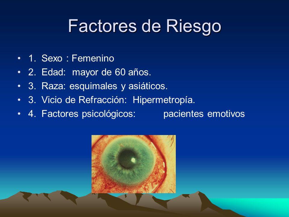 Factores de Riesgo 1. Sexo : Femenino 2. Edad: mayor de 60 años. 3. Raza: esquimales y asiáticos. 3. Vicio de Refracción: Hipermetropía. 4. Factores p