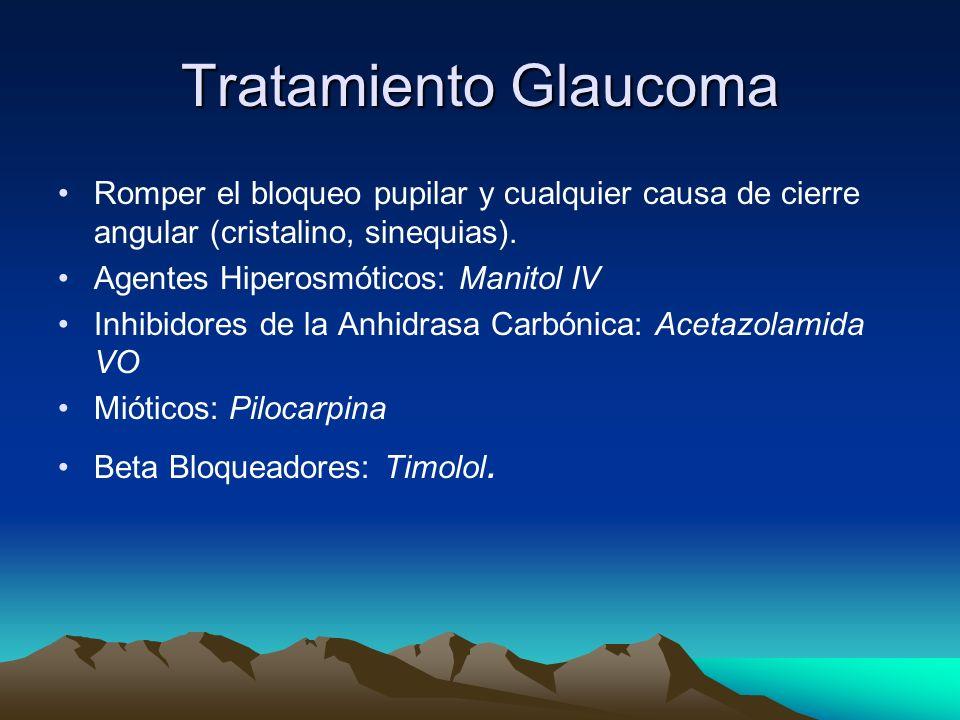 Tratamiento Glaucoma Romper el bloqueo pupilar y cualquier causa de cierre angular (cristalino, sinequias). Agentes Hiperosmóticos: Manitol IV Inhibid