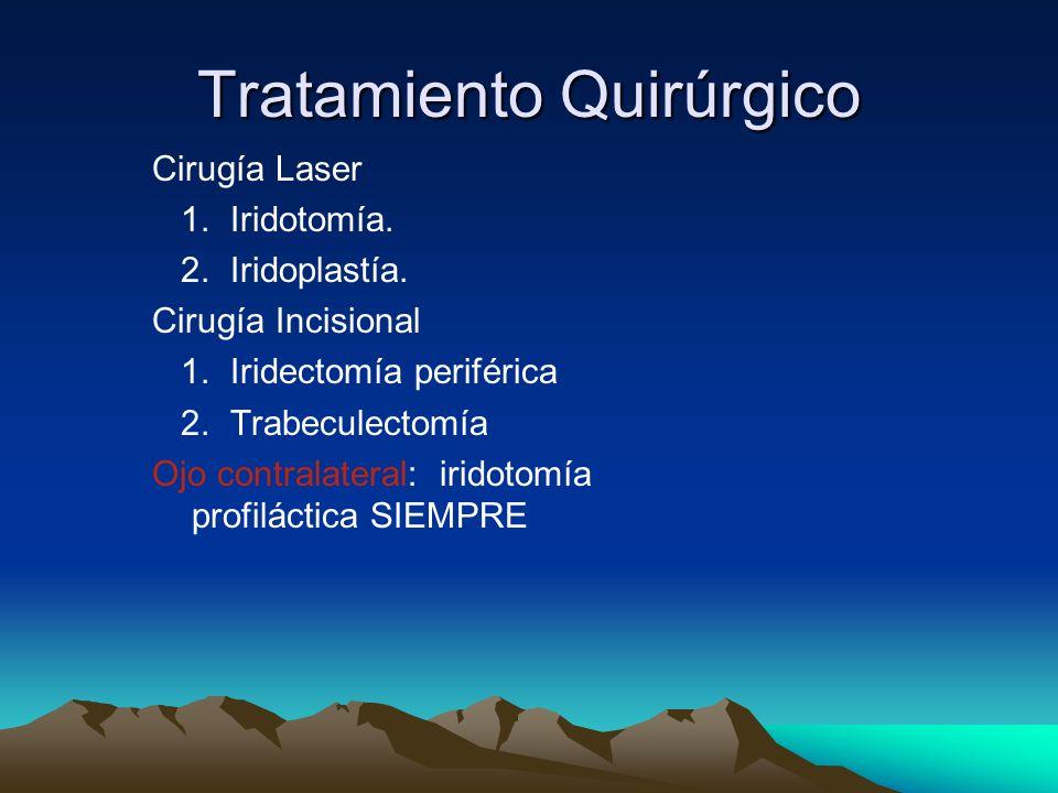 Tratamiento Quirúrgico Cirugía Laser 1. Iridotomía. 2. Iridoplastía. Cirugía Incisional 1. Iridectomía periférica 2. Trabeculectomía Ojo contralateral