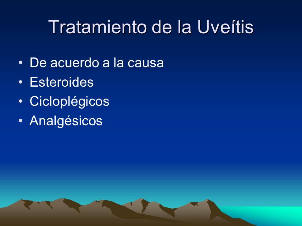 Tratamiento de la Uveítis De acuerdo a la causa Esteroides Cicloplégicos Analgésicos