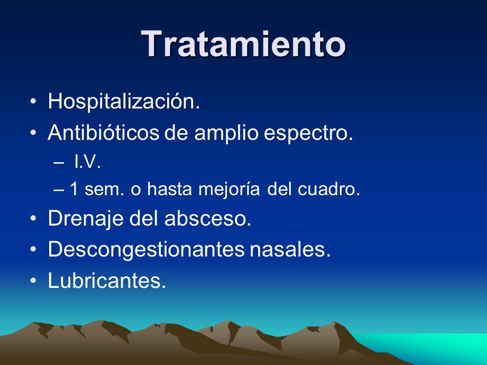Tratamiento Hospitalización. Antibióticos de amplio espectro. – I.V. –1 sem. o hasta mejoría del cuadro. Drenaje del absceso. Descongestionantes nasal