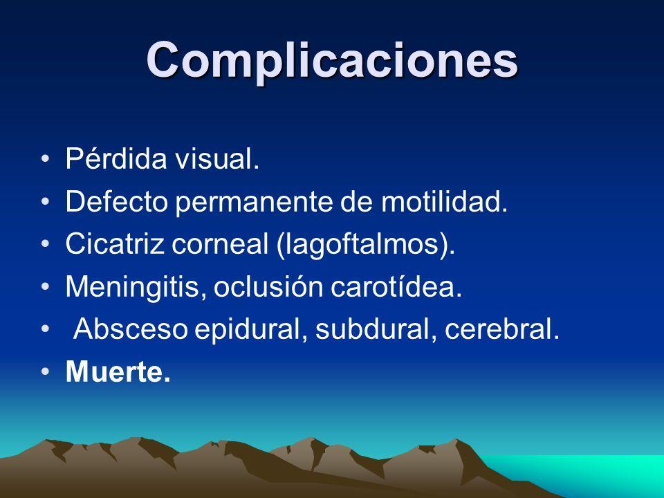 Complicaciones Pérdida visual. Defecto permanente de motilidad. Cicatriz corneal (lagoftalmos). Meningitis, oclusión carotídea. Absceso epidural, subd