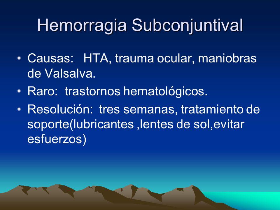 Hemorragia Subconjuntival Causas: HTA, trauma ocular, maniobras de Valsalva. Raro: trastornos hematológicos. Resolución: tres semanas, tratamiento de