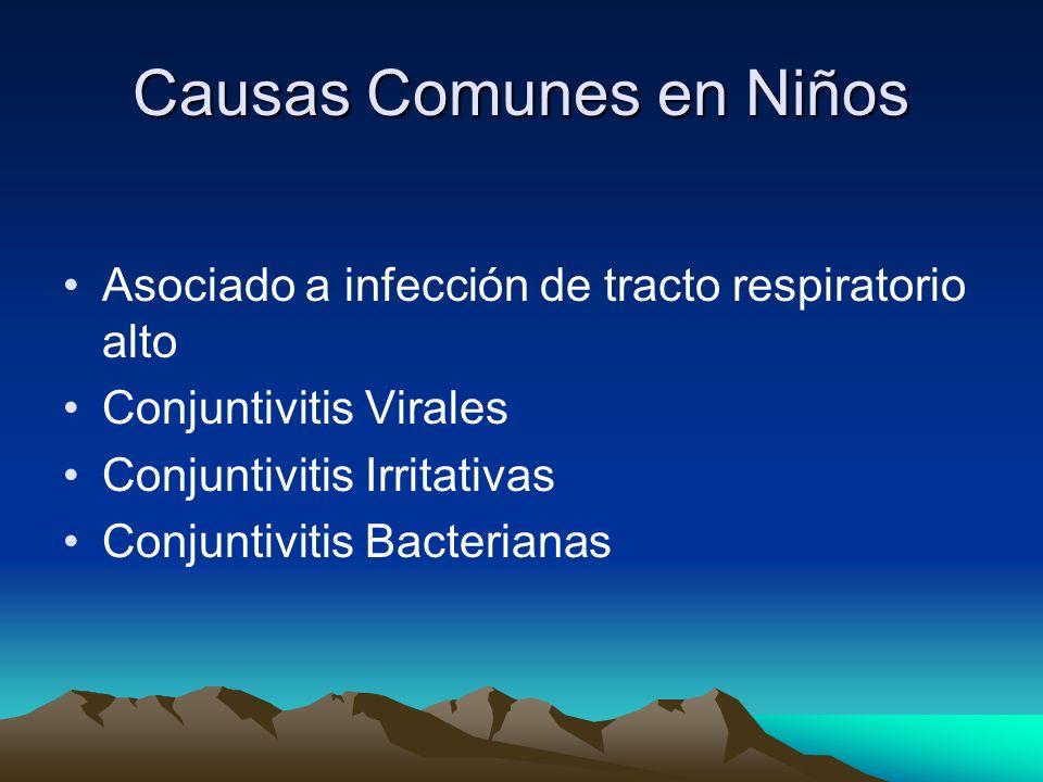 Causas Comunes en Niños Asociado a infección de tracto respiratorio alto Conjuntivitis Virales Conjuntivitis Irritativas Conjuntivitis Bacterianas