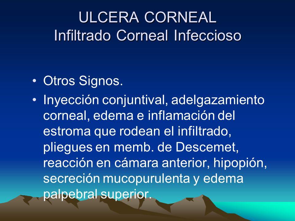 ULCERA CORNEAL Infiltrado Corneal Infeccioso Otros Signos. Inyección conjuntival, adelgazamiento corneal, edema e inflamación del estroma que rodean e