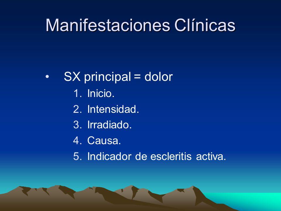 Manifestaciones Clínicas SX principal = dolor 1.Inicio. 2.Intensidad. 3.Irradiado. 4.Causa. 5.Indicador de escleritis activa.