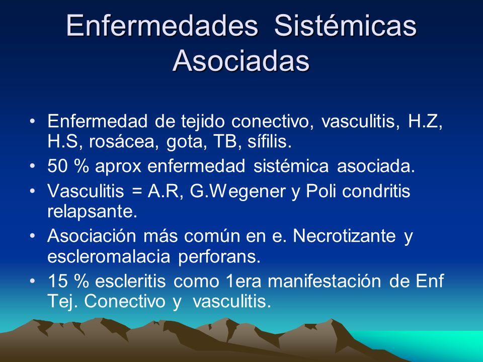 Enfermedades Sistémicas Asociadas Enfermedad de tejido conectivo, vasculitis, H.Z, H.S, rosácea, gota, TB, sífilis. 50 % aprox enfermedad sistémica as