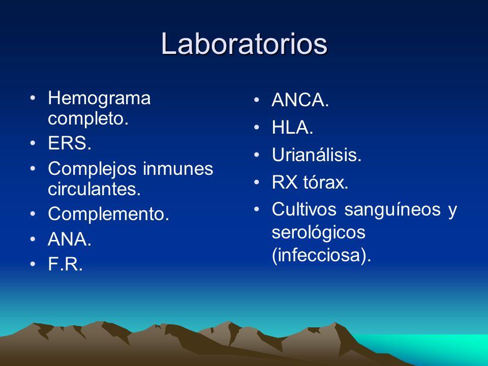 Laboratorios Hemograma completo. ERS. Complejos inmunes circulantes. Complemento. ANA. F.R. ANCA. HLA. Urianálisis. RX tórax. Cultivos sanguíneos y se