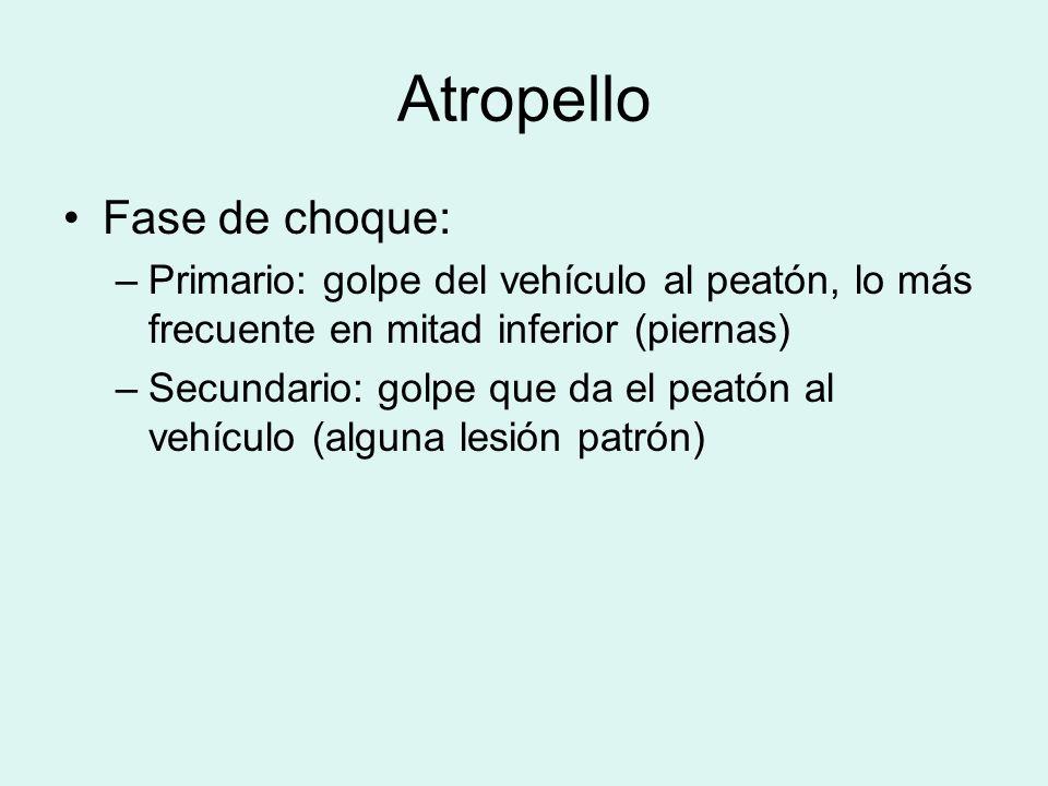 Atropello Fase de choque: –Primario: golpe del vehículo al peatón, lo más frecuente en mitad inferior (piernas) –Secundario: golpe que da el peatón al