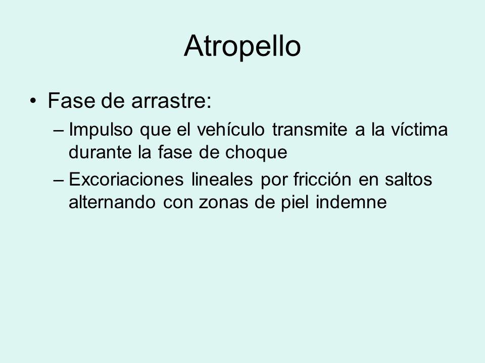 Atropello Fase de arrastre: –Impulso que el vehículo transmite a la víctima durante la fase de choque –Excoriaciones lineales por fricción en saltos a