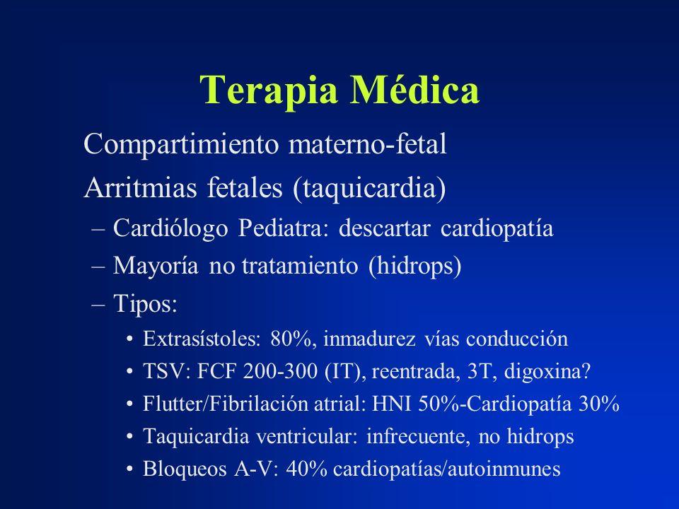 Terapia Médica Compartimiento materno-fetal Arritmias fetales (taquicardia) –Cardiólogo Pediatra: descartar cardiopatía –Mayoría no tratamiento (hidro