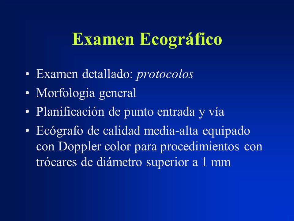 Examen Ecográfico Examen detallado: protocolos Morfología general Planificación de punto entrada y vía Ecógrafo de calidad media-alta equipado con Dop