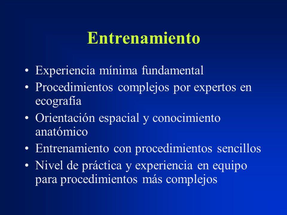 Entrenamiento Experiencia mínima fundamental Procedimientos complejos por expertos en ecografía Orientación espacial y conocimiento anatómico Entrenam
