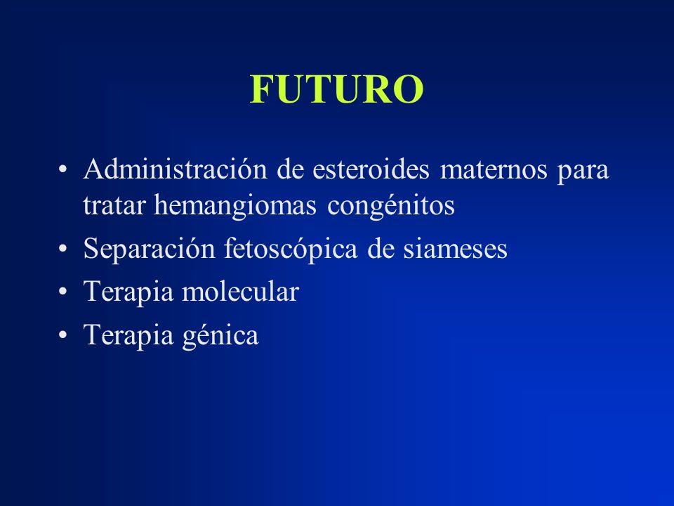 FUTURO Administración de esteroides maternos para tratar hemangiomas congénitos Separación fetoscópica de siameses Terapia molecular Terapia génica