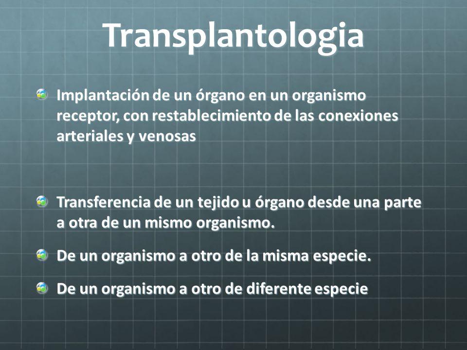 Transplantologia Implantación de un órgano en un organismo receptor, con restablecimiento de las conexiones arteriales y venosas Transferencia de un t