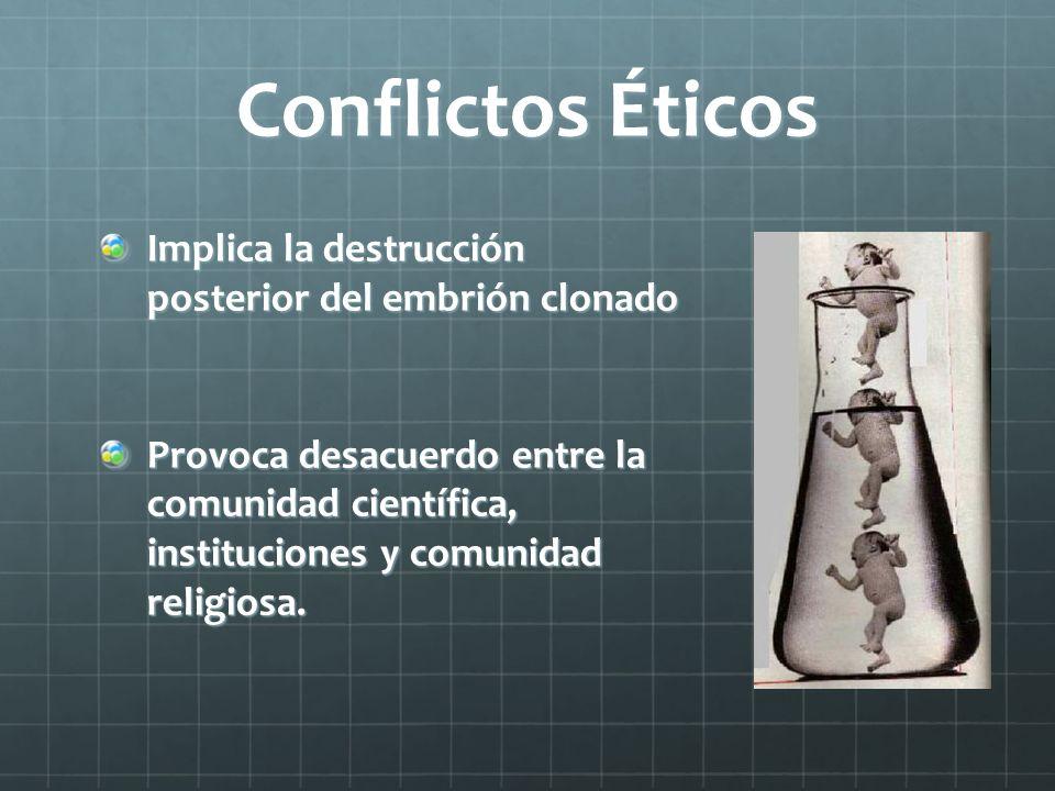 Conflictos Éticos Implica la destrucción posterior del embrión clonado Implica la destrucción posterior del embrión clonado Provoca desacuerdo entre l