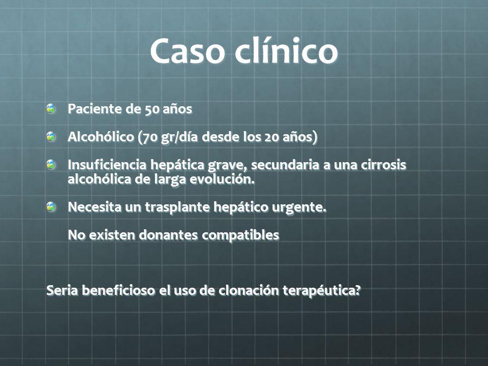 Caso clínico Paciente de 50 años Alcohólico (70 gr/día desde los 20 años) Insuficiencia hepática grave, secundaria a una cirrosis alcohólica de larga