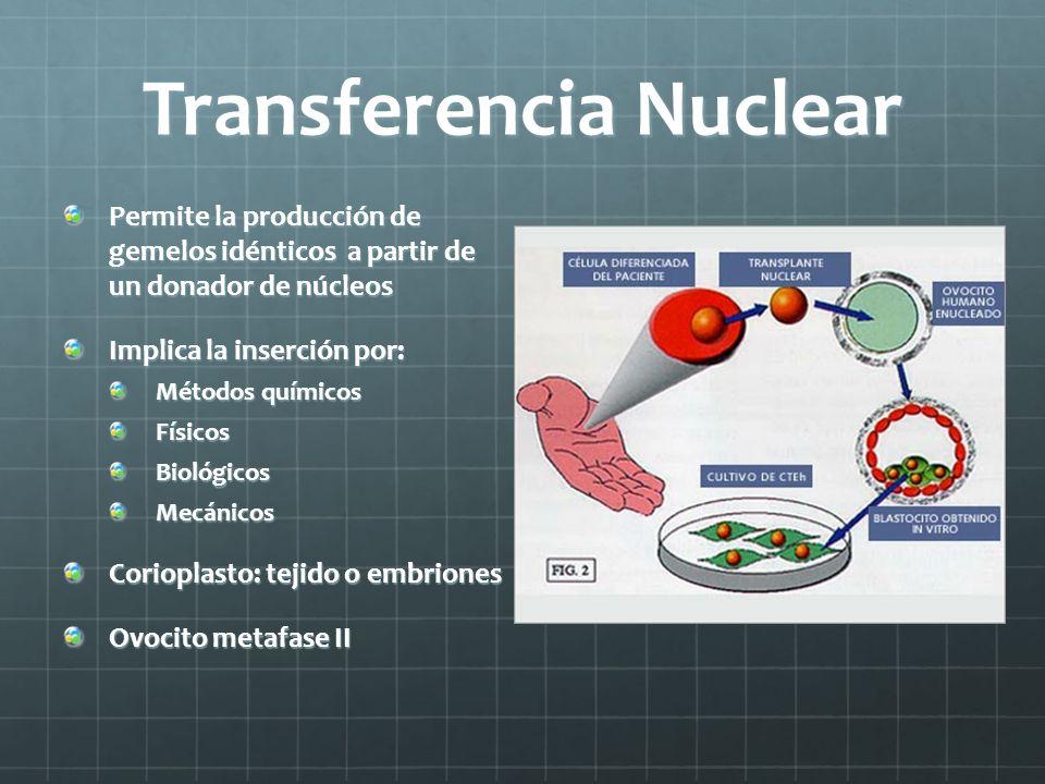 Transferencia Nuclear Permite la producción de gemelos idénticos a partir de un donador de núcleos Implica la inserción por: Métodos químicos FísicosB