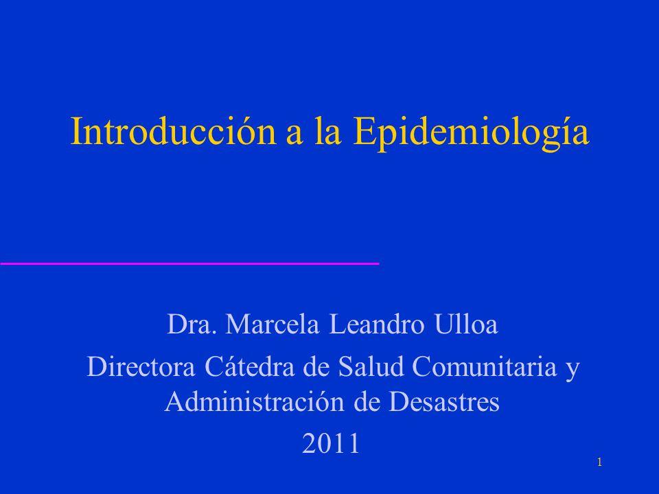 Introducción a la Epidemiología Dra.