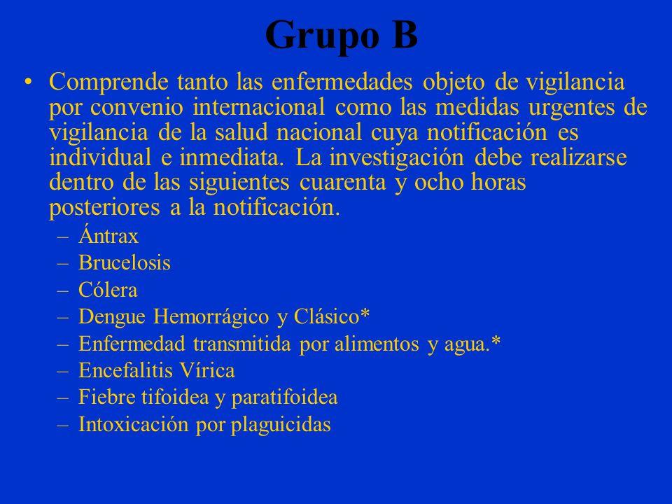 Grupo A Comprende las enfermedades que actualmente están erradicados del país, y que son objeto de vigilancia epidemiológica por parte de la Organizac