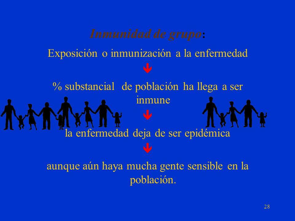 Propagación de la epidemia: Es típico de las enfermedades epidémicas que se transmitan por: El contacto directo Persona a persona. 27