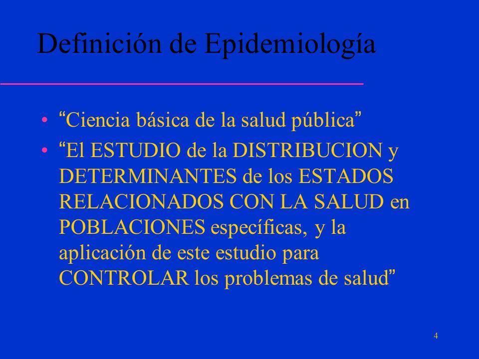 Definición de Epidemiología Ciencia básica de la salud pública El ESTUDIO de la DISTRIBUCION y DETERMINANTES de los ESTADOS RELACIONADOS CON LA SALUD en POBLACIONES específicas, y la aplicación de este estudio para CONTROLAR los problemas de salud 4