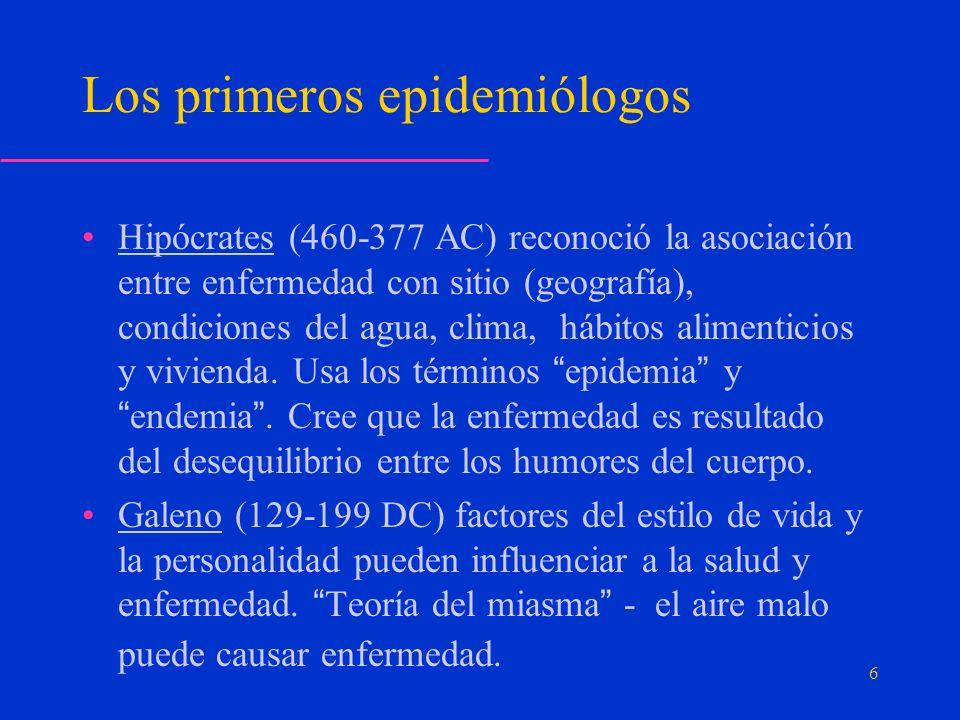 Los primeros epidemiólogos Hipócrates (460-377 AC) reconoció la asociación entre enfermedad con sitio (geografía), condiciones del agua, clima, hábitos alimenticios y vivienda.