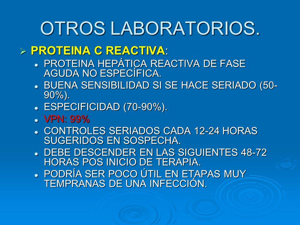 OTROS LABORATORIOS. PROTEINA C REACTIVA: PROTEINA C REACTIVA: PROTEINA HEPÁTICA REACTIVA DE FASE AGUDA NO ESPECÍFICA. PROTEINA HEPÁTICA REACTIVA DE FA