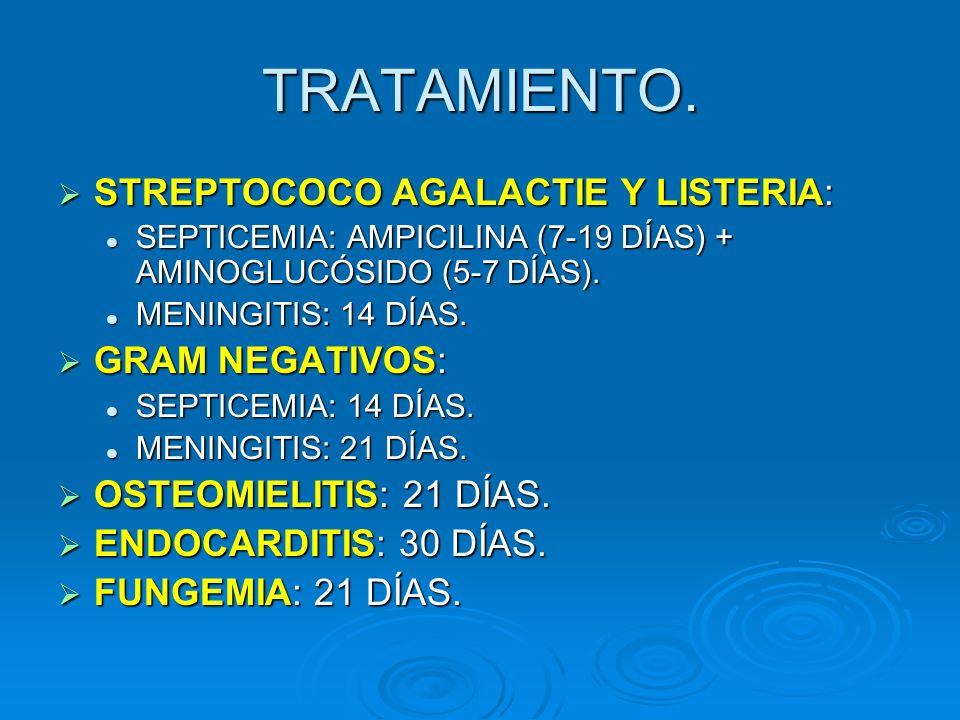 TRATAMIENTO. STREPTOCOCO AGALACTIE Y LISTERIA: STREPTOCOCO AGALACTIE Y LISTERIA: SEPTICEMIA: AMPICILINA (7-19 DÍAS) + AMINOGLUCÓSIDO (5-7 DÍAS). SEPTI